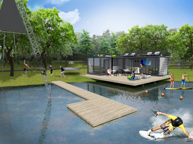 Būsimo Klaipėdos vandenlenčių parko vizualizacija