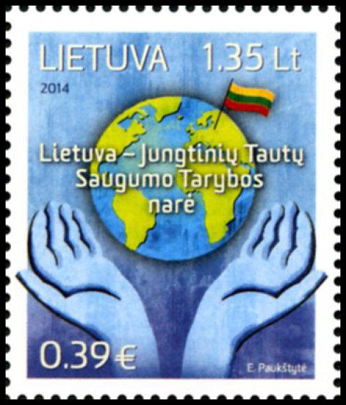 """Pašto žėnklas """"Lietuva – Jungtinių Tautų Saugumo Tarybos narė"""""""