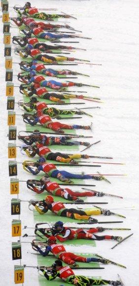 Biatlono varžybų akimirka