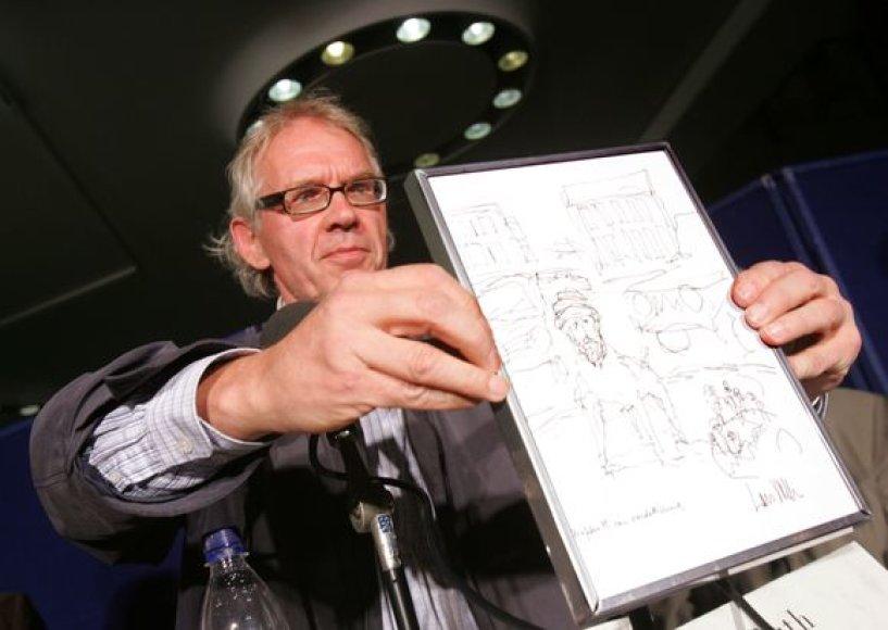 Larsas Vilksas su karikatūra