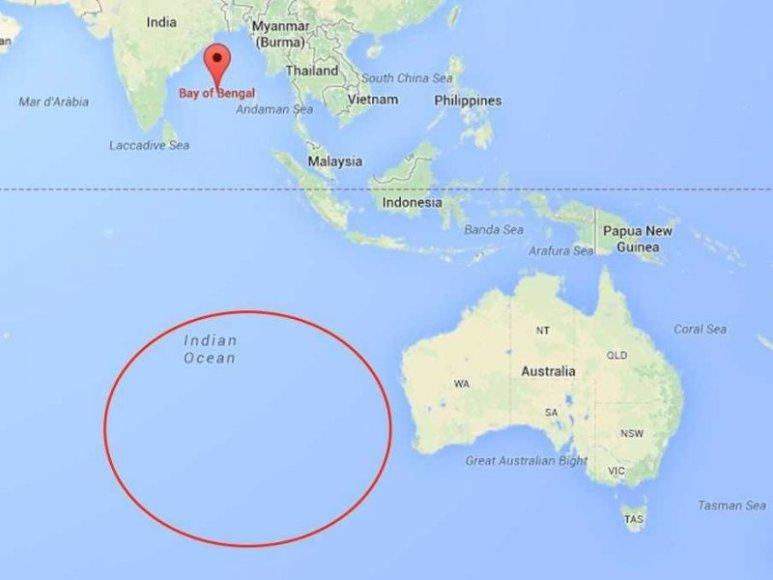 Žemėlapyje pažymėta vieta, kur esą aptiktos Malaizijos orlaivio nuolaužos.