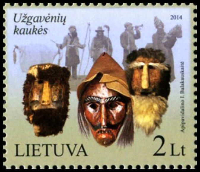 Pašto ženklas su Užgavėnių kaukėmis