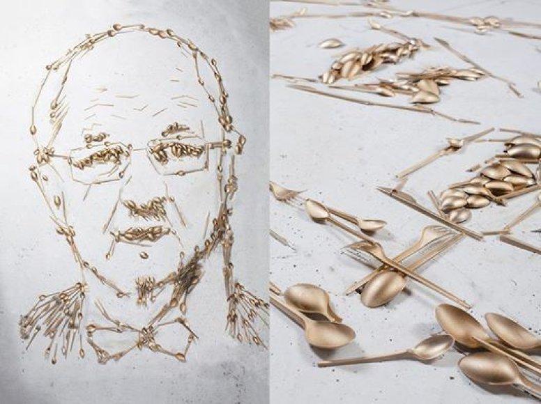 Juozo Oleko portretas iš stalo įrankių