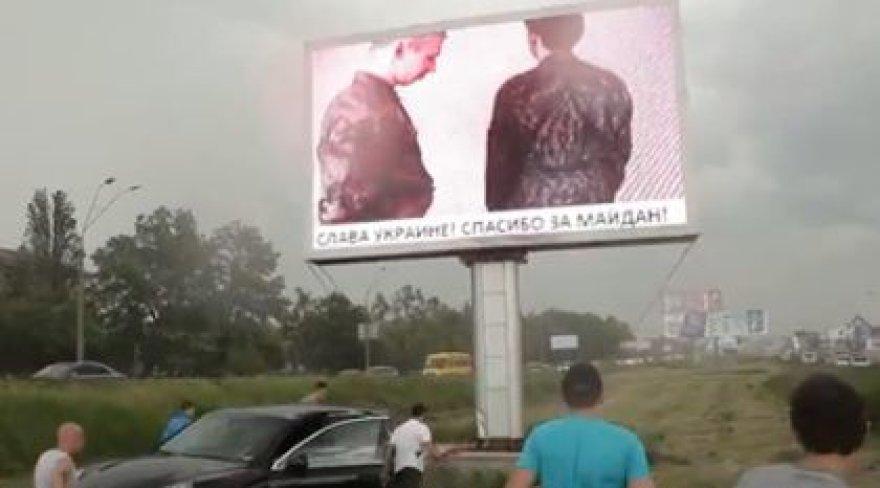 Vaizdas reklaminiame ekrane Kijeve