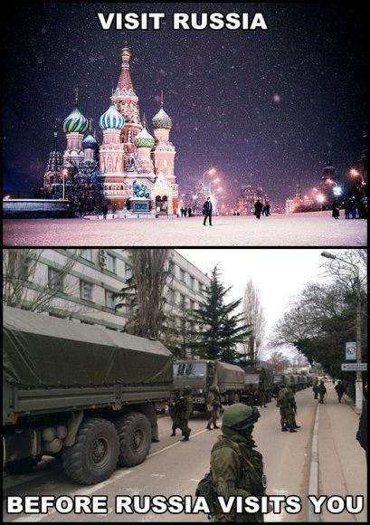 Internautų satyra ir nuotraukos, smerkiančios V.Putino agresorišką politiką
