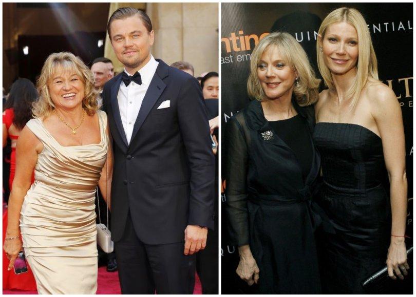 Leonardo DiCaprio ir Gwyneth Paltrow su mamomis
