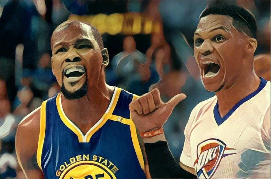 15min nuotr./Kevinas Durantas ir Russellas Westbrookas