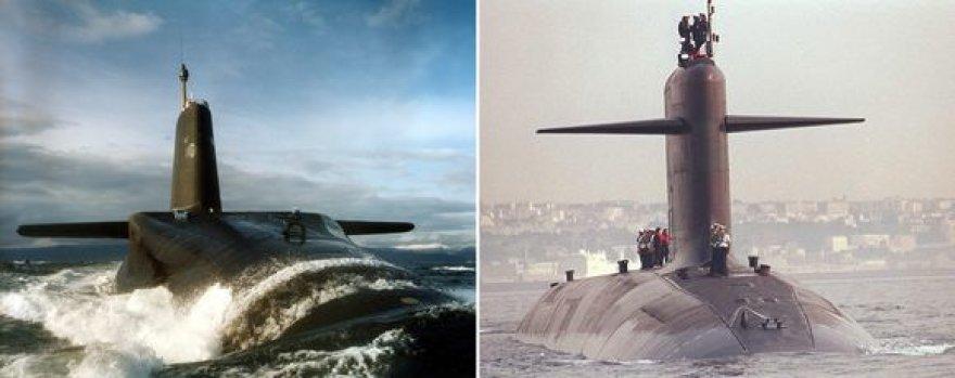 """Didžiosios Britanijos povandeninis karo laivas """"Vanguard"""" (kairėje) ir Prancūzijos povandeninis karo laivas """"Le Triomphant""""."""