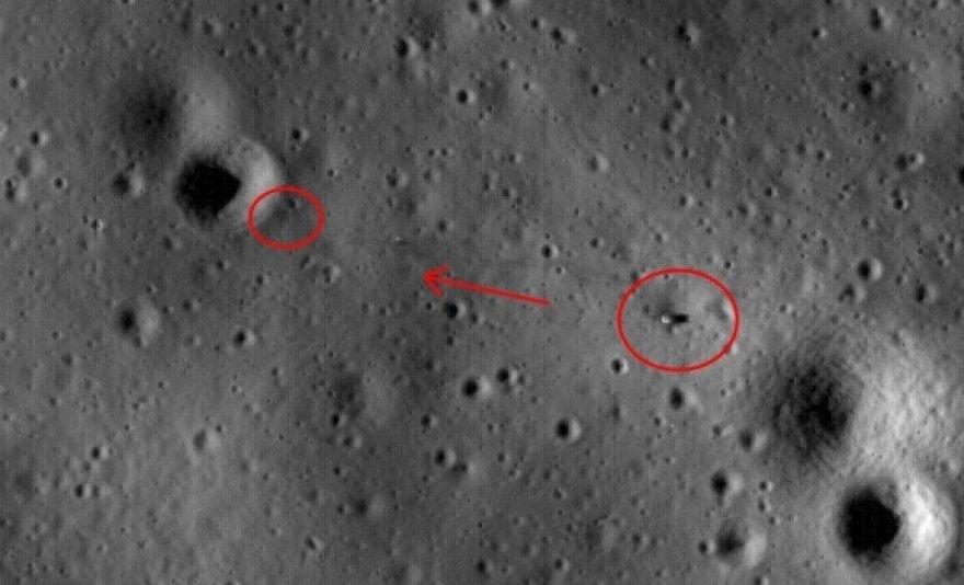 """""""Apollo 14"""" nusileidimo vieta ir žmonių pėdsakai."""