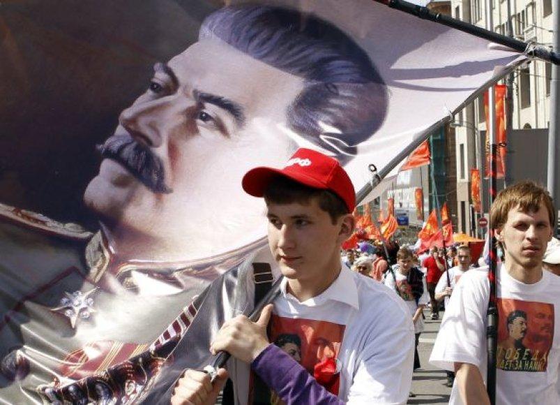 Stalino portretas gegužės 9 d. demonstracijoje