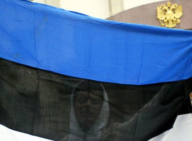Estijos vėliava prie Rusijos ambasados