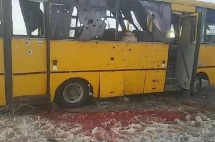Separatistų sušaudytas autobusas šalia Donecko