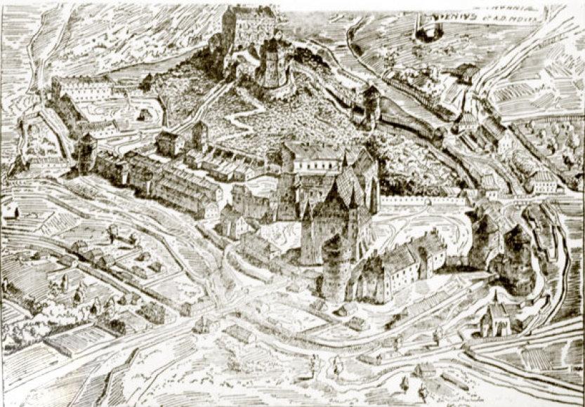 Vilniaus pilių kompleksas pagal Moreliovskį apie 1530 metus
