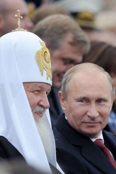 Vladimiras Putinas ir Rusijos stačiatikių patriarchas Kirilas