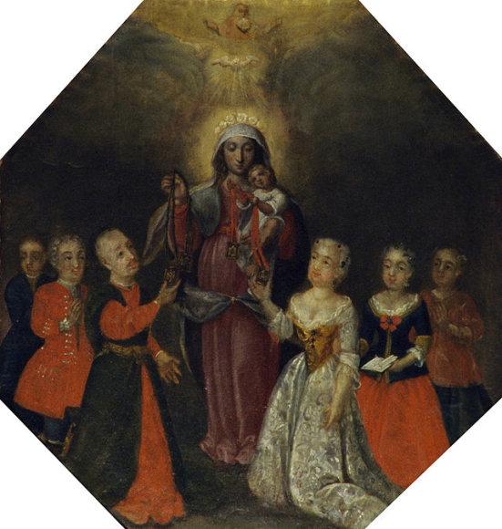 Kunigaikštis Karolis Sranislovas Radvila (1669-1719) su žmona ir  vaikais