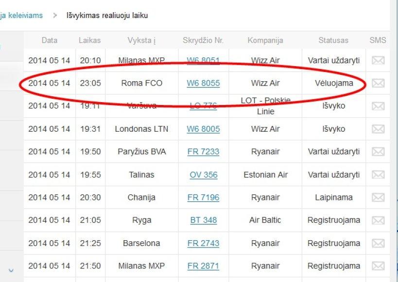 Atidėtas skrydis iš Vilniaus į Romą.