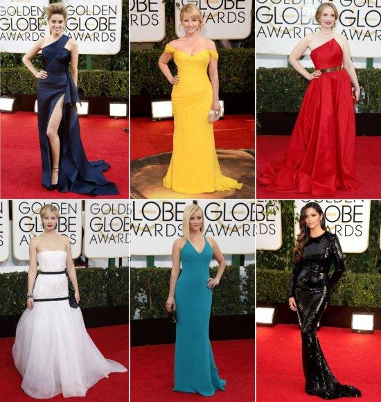 """Ryškiaspalvės suknelės ant """"Auksinių gaublių"""" raudonojo kilimo"""