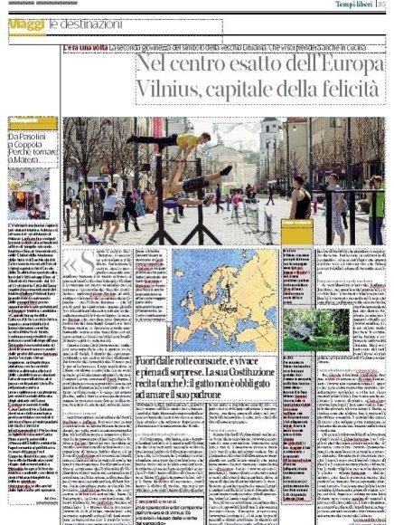 """Dienraštyje """"Corriere della Sera"""" penktadienį išspausdintas straipsnis apie Vilnių"""