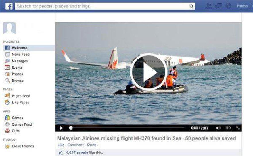 Apgaulė: neva rastas Malaysia Airlines Flight MH370 laineris.