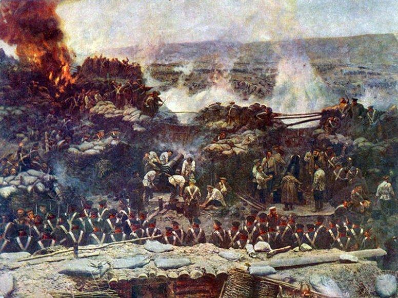 """Francio Robudo panoraminis paveikslas """"Sevastopolio apsiaustis"""" (1904 m.)."""