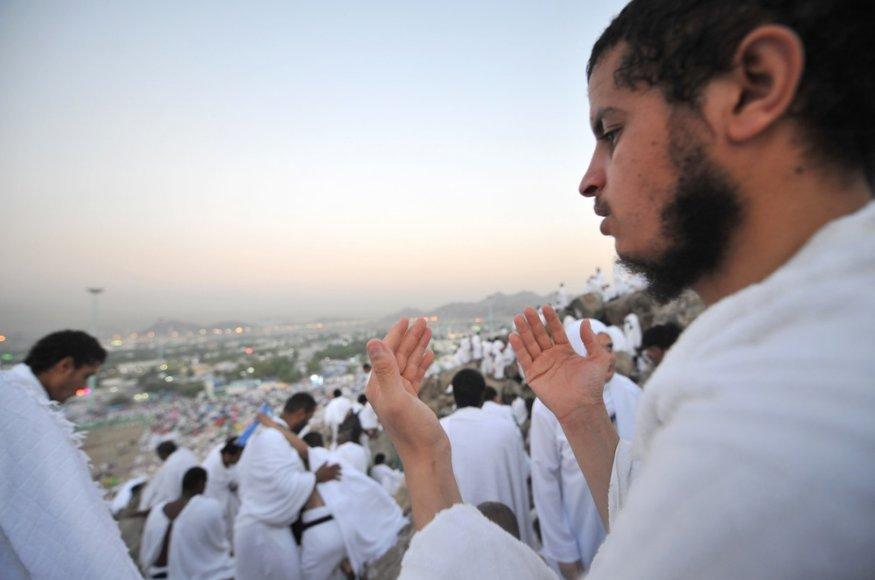 Musulmonų maldininkai ant Arafato kalno