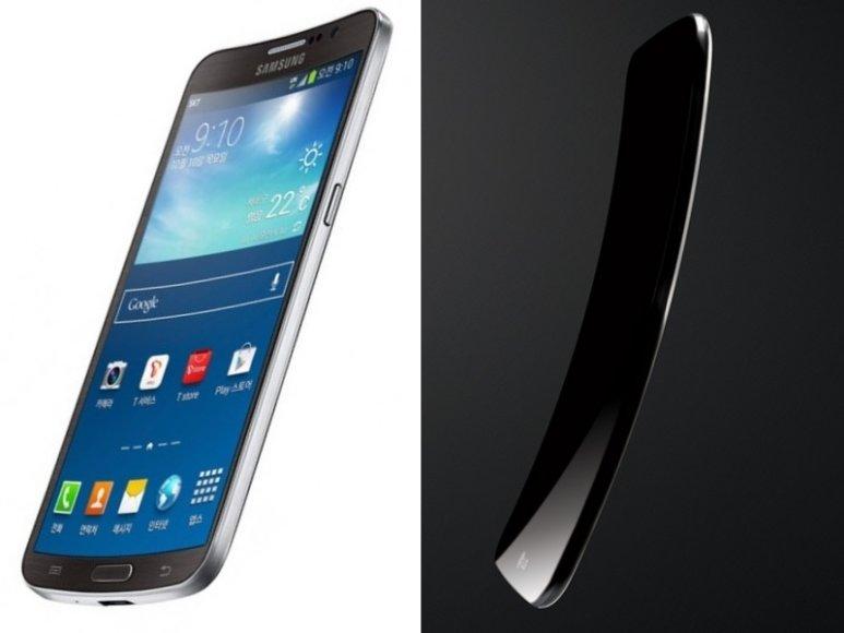 """""""Samsung"""" išmanųjį telefoną """"Galaxy Round"""" sulenkė skersai (kairėje), """"LG"""" atsakas – išilgai lenktas """"G Flex"""""""
