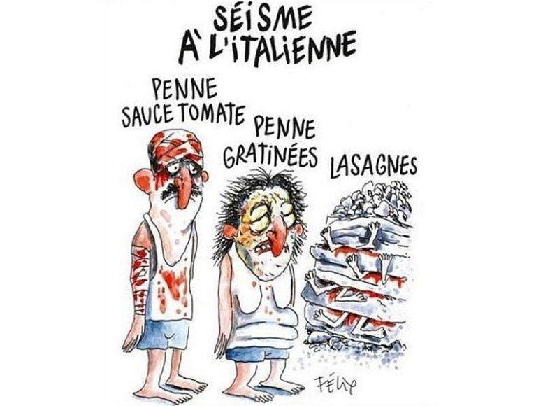 """""""Charlie Hebdo"""" karikatūra, vaizduojanti žemės drebėjimo Italijoje aukas"""