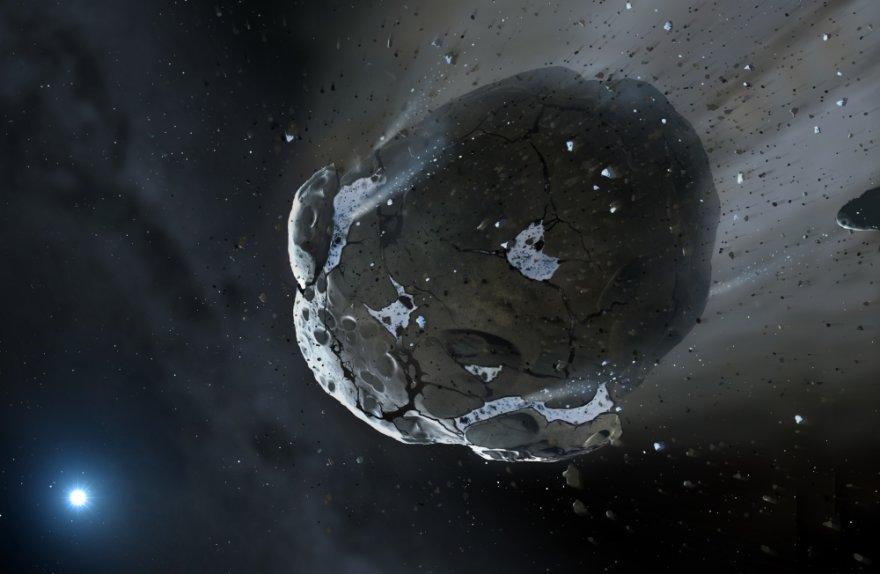 Aplink baltąją nykštukę skriejantis vandeningas asteroidas