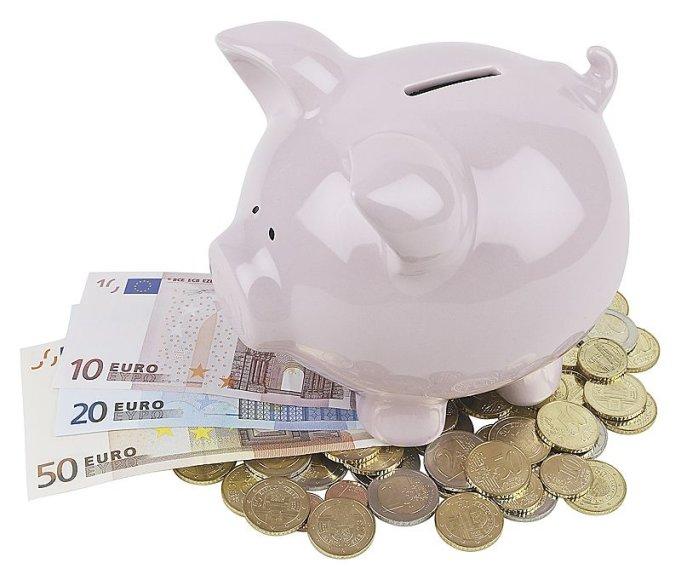 Eurai ir kiaulė taupyklė