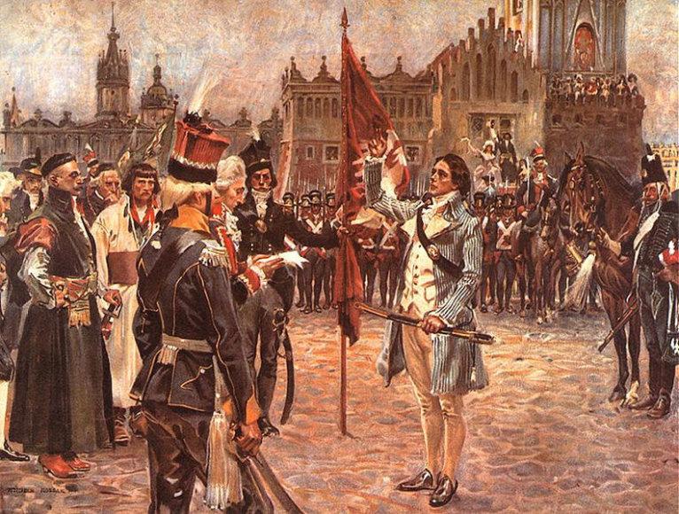 Iš LDK kilusio sukilimo vado T.Kosciuškos priesaika Krokuvoje