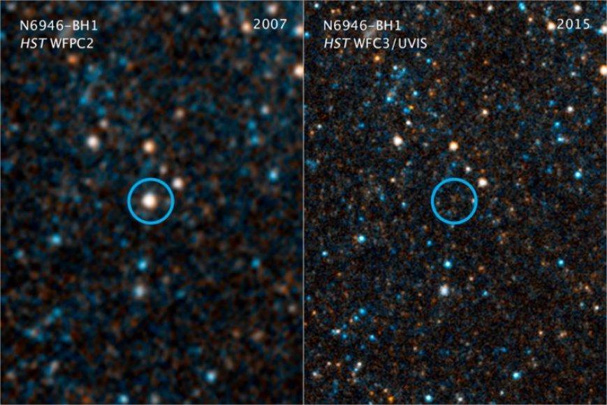 Žvaigždė N6946-BH1: 2007 metais ryškiai švyti, o 2015 metais jos – nė ženklo