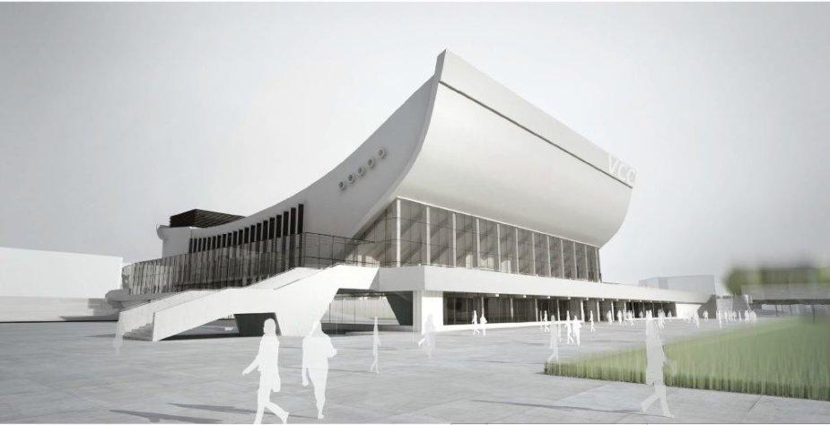 Rekonstruotų Sporto rūmų vizualizacija
