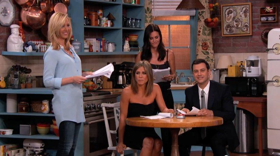 Lisa Kudrow, Jennifer Aniston, Courteney Cox ir Jimmy Kimmelas