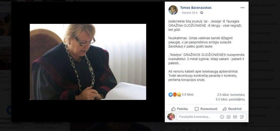T.Baranauskas socialiniame tinkle teisėjai adresavo karčių žodžių.