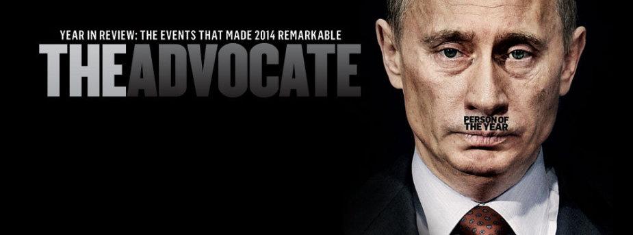 """Vladimiras Putinas ant """"The Advocate"""" viršelio"""