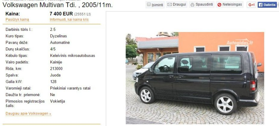 "Parduodamo ""VW Multivan"" skelbimas"