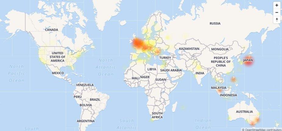 """""""Facebook"""" sutrikimų žemėlapis kovo 14 d. ryte"""