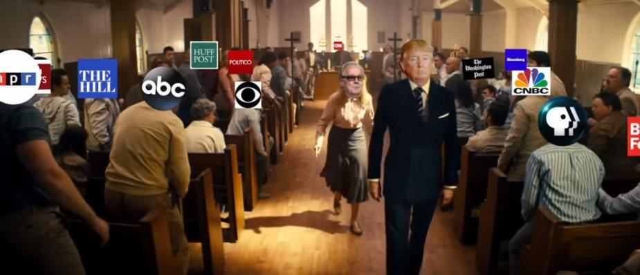 Parodija, kurioje Donaldas Trumpas smurtauja prieš žiniasklaidą
