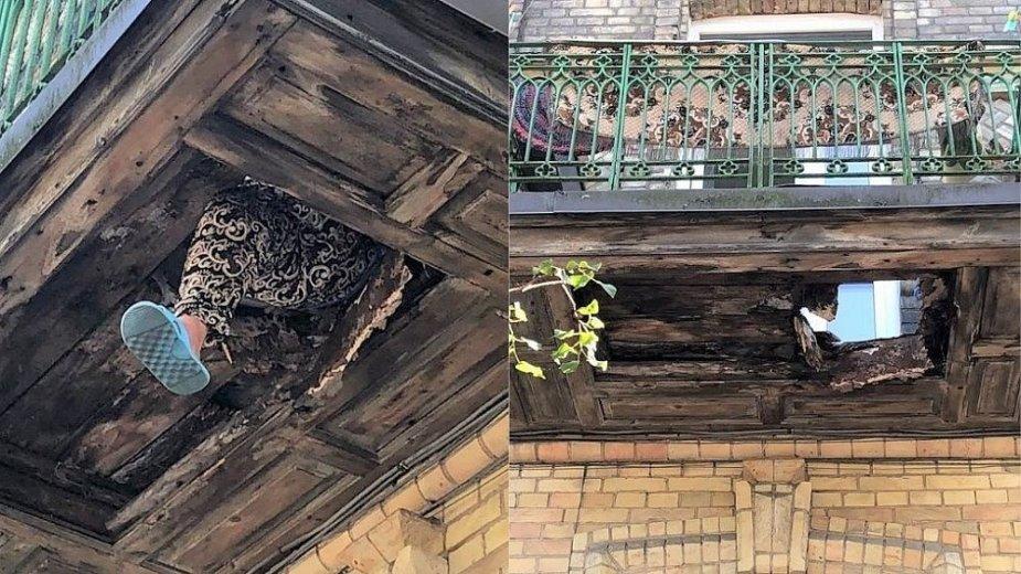 Avarinės būklės balkonai: įlūžus grindims įstrigo vilnietė