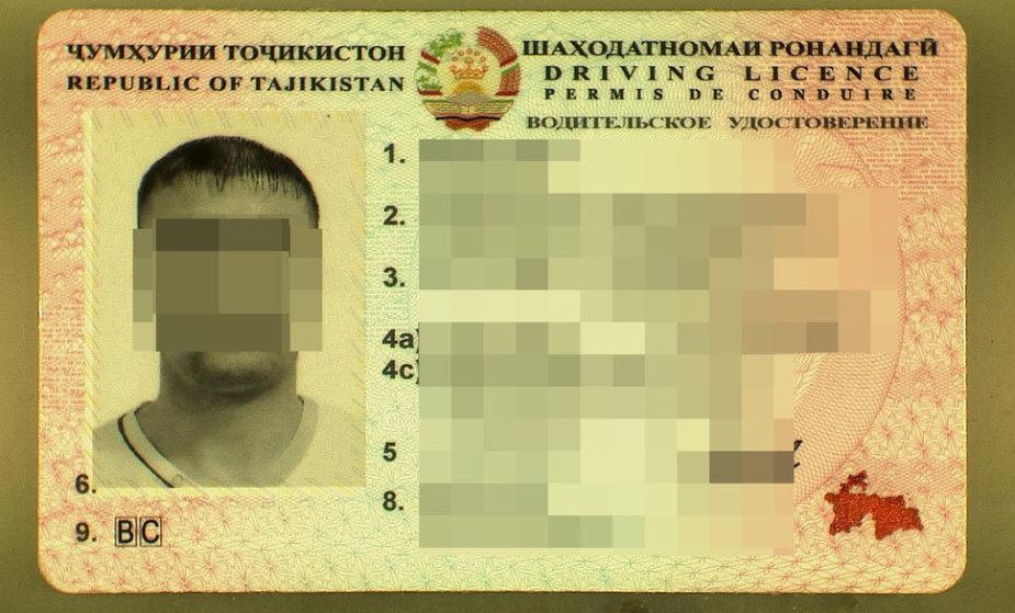 Pateiktas tadžikiškas vairuotojo pažymėjimas
