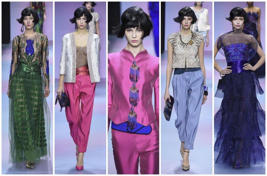 """""""Giorgio Armani Privé"""" 2020 m. pavasario ir vasaros kolekcijos modeliai"""