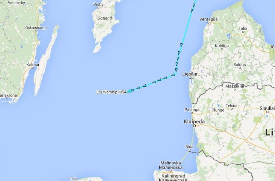 """Laivo """"Kuršis"""" judėjimo trajektorija į tašką, kuriame aptiktas lėktuvas An-2"""
