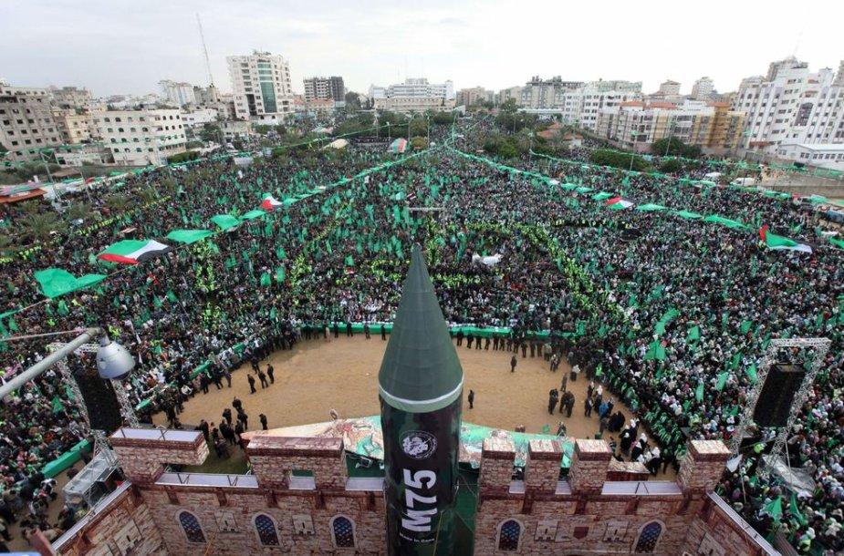 """Gazos ruožo gyventojai rinkosi į """"Hamas"""" minėjimą"""