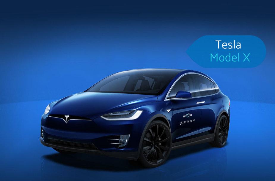 """""""Spark"""" nuomojami """"Tesla""""automobiliai"""