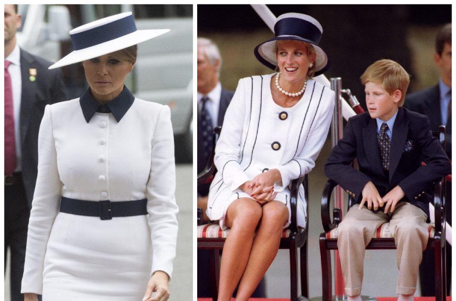Melania Trump. princesė Diana ir princas Harry
