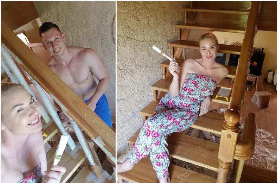Natalija Bunkė pati atsinaujino laiptus savo namuose