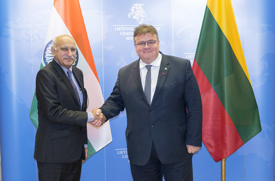 L.Linkevičiaus ir Indijos Išorės reikalų Valstybės ministro M.J.Akbar susitikimas