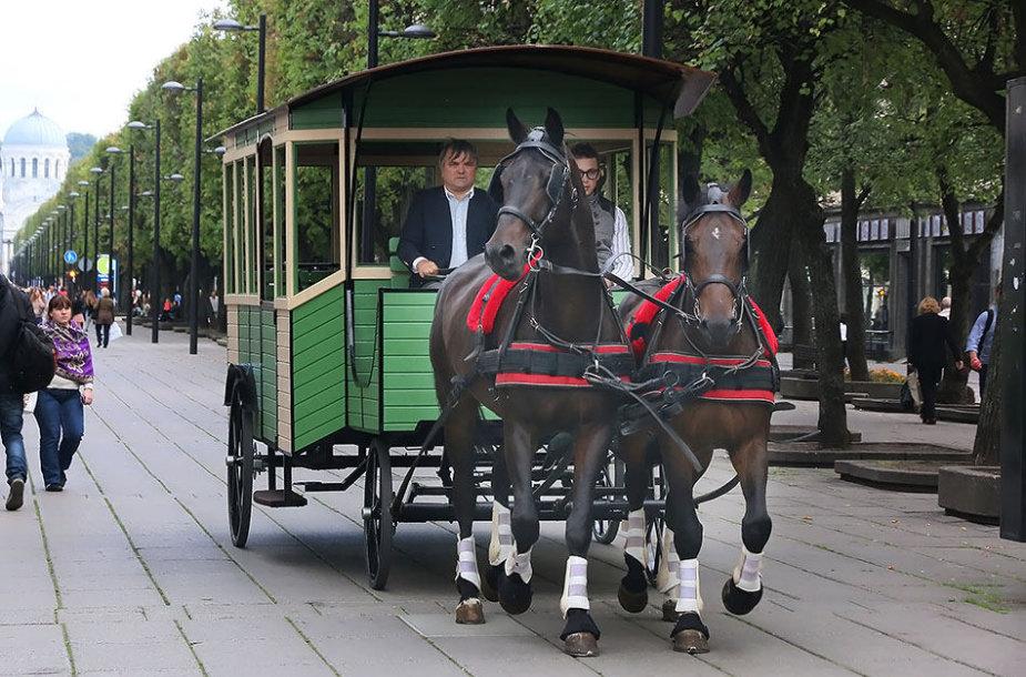 Po daugiau nei 80 metų į Laisvės alėją sugrįžusią žirgų traukiama konkė