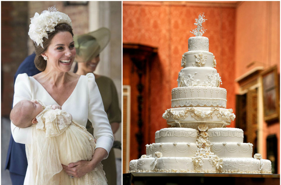 Kembridžo hercogienė Catherine su sūnumi Louisu ir karališkosios poros vestuvinis tortas