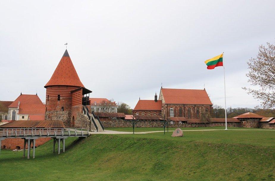 Šiuo metu šalia Kauno pilies plevėsuoja trispalvė